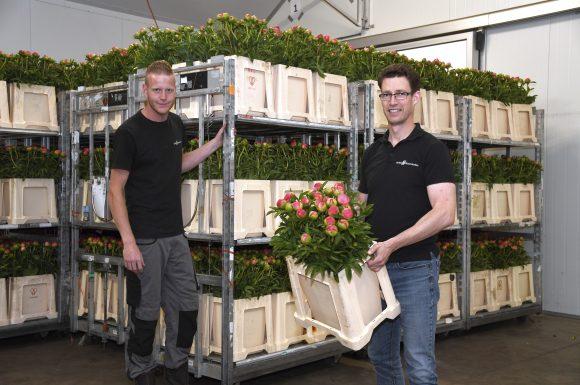 Gijs Hoedjes en Menno Boots verkopers pioenen